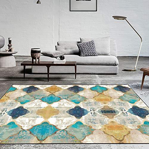 Fancytan Tappeto Moderni Design Geometrico Marocco Tappeti Grande per Soggiorno Camera da Letto, Blue e Giallo, 160 x 230cm