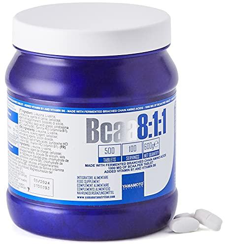 Yamamoto Nutrition Bcaa 8:1:1 Integratore Alimentare di Aminoacidi a Catena Ramificata con Vitamine B1 e B6 500 Compresse, 600 Grammi