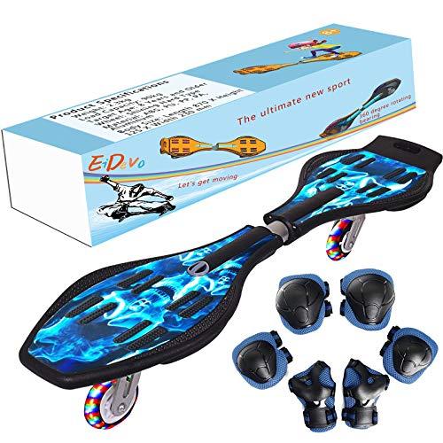 EiDevo Waveboard, Double Wheel Balance Scooter Caster Board con LED Flash Wheel Wave Board Birth Gift Antiskid Snake Board Adatto per Bambini e Ragazzi Principianti Skateboard (Cranio)