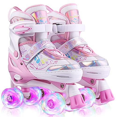 Pattini a Rotelle Bambina 3 Anni Pattini a Rotelle da Strada Pattini a Rotelle Bambino Pattini a 4 Ruote Luminose Roller Quad Protezione Completa per Principianti