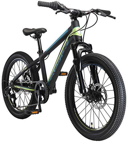 BIKESTAR MTB Mountain Bike 20' Alluminio per Bambini 6-9 Anni   Bicicletta Telaio Pollici 11.5 velocità Shimano, Hardtail, Freni a Disco, sospensioni   Nero