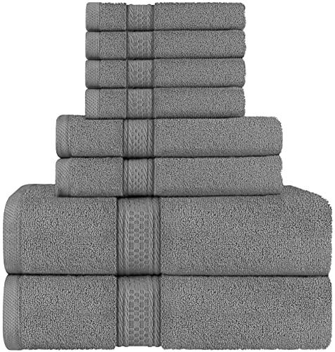 Utopia Towels - Set di asciugamani a 8 pezzi; 2 asciugamani da bagno, 2 asciugamani e 4 salviette (Grigio)