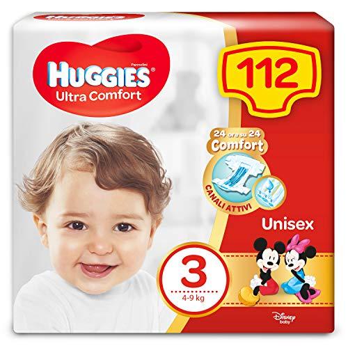 Huggies Pannolini Ultra Comfort, Taglia 3 (4-9 Kg), Confezione Da 112 Pannolini