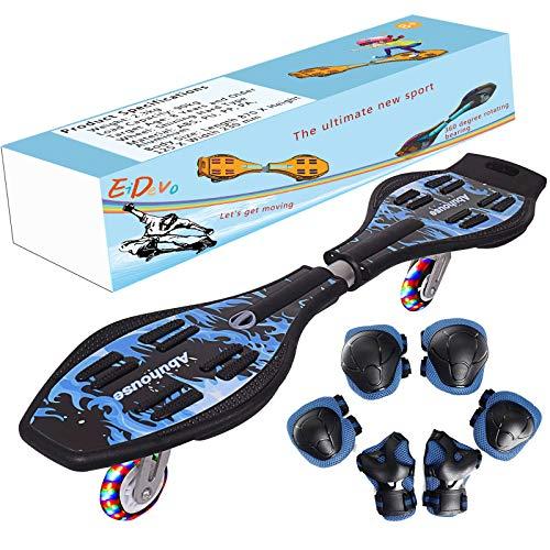 EiDevo Waveboard, Double Wheel Balance Scooter Caster Board con LED Flash Wheel Wave Board Birth Gift Antiskid Snake Board Adatto per Bambini e Ragazzi Principianti Skateboard (Blu)