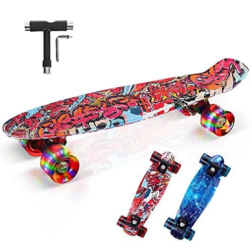 Skateboard Bambini, 22'x6' Mini Cruiser Skateboard Completa Retrò con Cuscinetti a Sfera ABEC-11, Skateboard per Principianti per Ragazzo,Ragazza (con PU Ruote LED Lampeggianti e Strumento T) (Rosso)