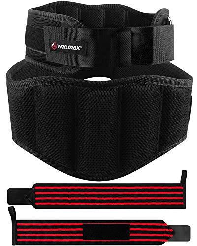 WIN.MAX Cintura Palestra Cintura Lombare Palestra Cintura Pesi Palestra Cintura per Sollevamento Pesi con Fasce da Polso Cintura Pesistica Allenamento per Bodybuilding Fitness Muscoli Squat (Nero, M)