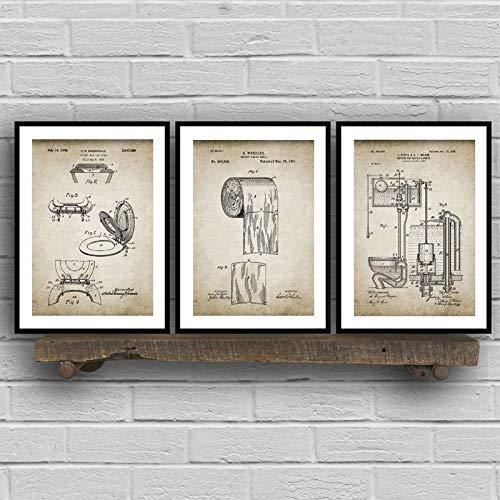 Immagini per le pareti del bagno - Decorazioni per poster retrò in brevetto per articoli da bagno, pronte da appendere, 20 x 30 cm (8 x 12 pollici) x 3 con cornice