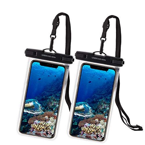 UNBREAKcable [2-Pezzi Custodia Impermeabile Smartphone - Borsetta Impermeabile IPX8 Dry Bag Telefono Cover Subacquea per iPhone 12/11/XR/XS/X Samsung Galaxy S21/ S20 Huawei P40 PRO Fino a 7.0 Pollici