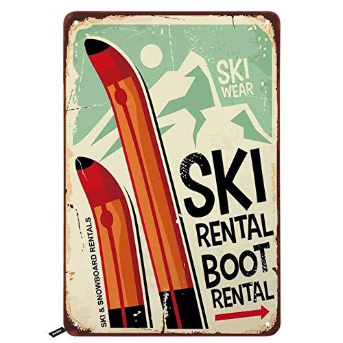 Targhe in metallo per noleggio sci, Noleggio scarponi da sci Targa in metallo vintage per uomo donna, Decorazione murale per bar, ristoranti, caffè-20x30cm