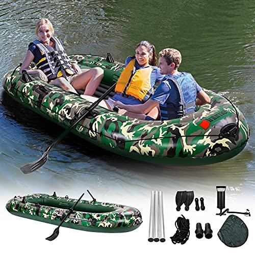 TELAM gonfiabile Kayak, 2.7m canoa gonfiabile 4 posti barca camuffamento kayak resistente agli strappi pieghevole con 2 remi Pompa dell'aria manuale,Per le visite turistiche sull'acqua (272*152*36 cm)