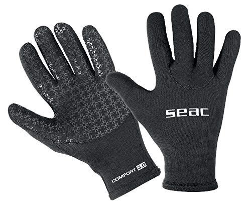 SEAC Comfort 3.0, Guanti da Sub in Neoprene da 3 mm e Palmo Anti Scivolo Unisex Adulto, Nero, L