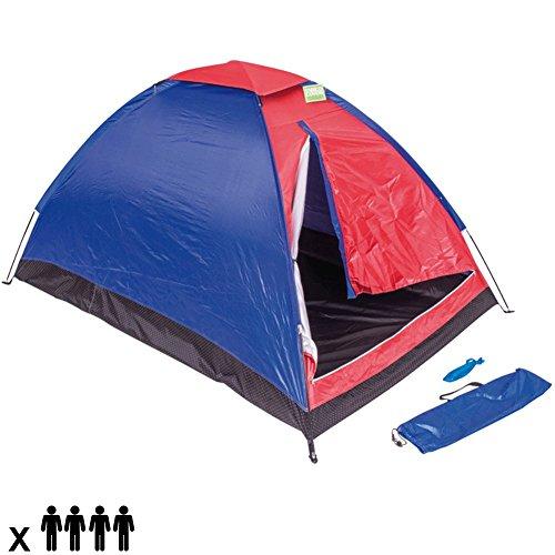 Enrico Coveri Tenda Da Campeggio Per 4 Persone Tenda Camping Spiaggia Cupola 4 Posti Familiare Tenda Outdoor in Nylon Antivento Zanzariera Colore Rosso Blu