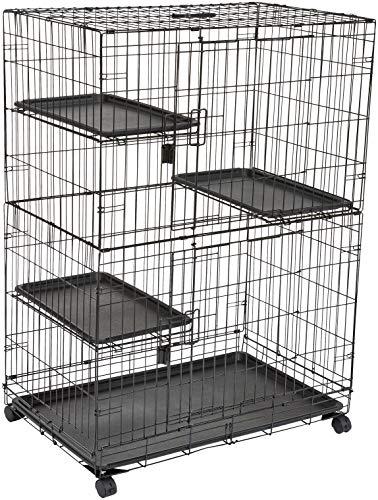 Amazon Basics - Gabbia grande per gatti, con 3 ripiani, 91 x 57 x 128,5 cm, Nero