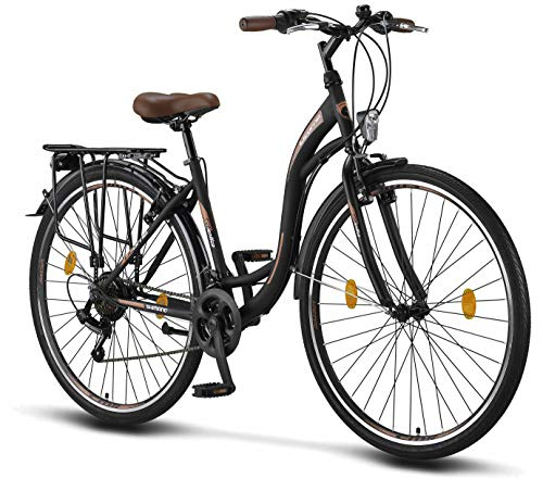 Stella 28 Pollici Bici da Donna, da 160 cm, Bicicletta Bici Citybike CTB Donna Vintage Retro, Luce Bici, Cambio 21 velocità, City Bike da Donna, Bici da Donna,Bici da Città