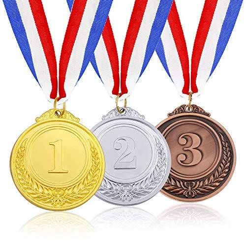 3 Pezzi Medaglie Premio Argento Dorato Bronzo Vincitori Degli Kid Sports Medaglie Medaglia con Corda Medaglie di Concorso Medaglia in Lega per Festa, Concorso di Dibattito, Ricompensa, Regalo