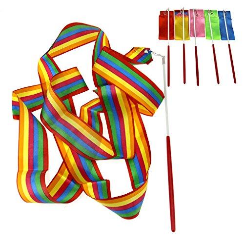 6 x Mix Colori 4M Palestra Danza Nastro Ritmica Arte Gymnastic Streamer Twirling Rod