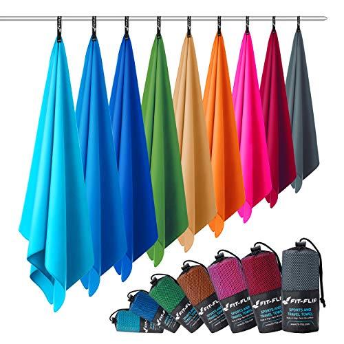 Fit-Flip Asciugamani Microfibra – in Tutte Le Misure / 12 Colori – Telo in Microfibra – Asciugamano da Palestra, Asciugamano da Viaggio e Asciugamano Fitness (2X 40x80cm Grigio Antracite + 1 Borsa)