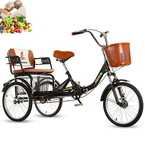 Triciclo per adulti da 20 pollici a 3 ruote bici pieghevoli per bicicletta sedile comodo, cestino posteriore allargato per alimenti, catena singola, forcella anteriore ammortizzante per consentire