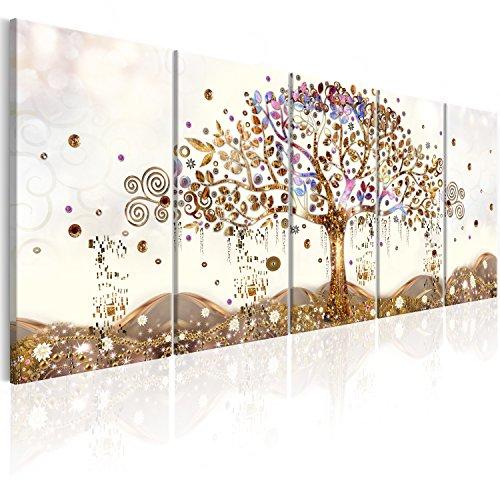 murando Quadro Albero della vita Klimt 200x80 cm Stampa su tela in TNT XXL Immagini moderni Murale Fotografia Grafica Decorazione da parete 5 pezzi Astratto oro bianco beige l-A-0009-b-n