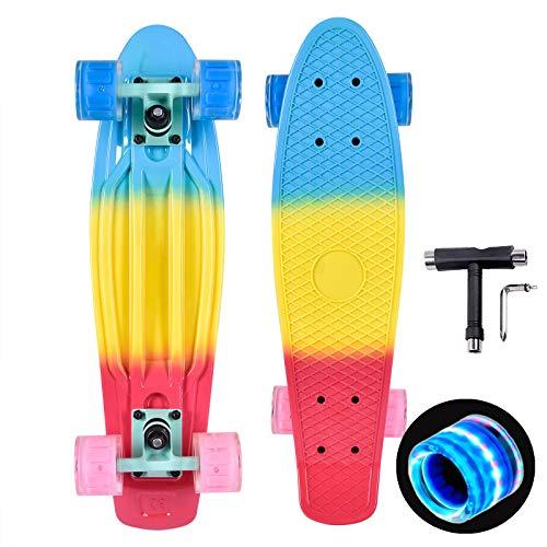 Kaigelu888 Skateboard Bambino, 22 inch Mini Cruiser Skateboard, ABEC-7 Cuscinetto Deck Concavo per Principiante Bambini Adolescenti Giovani Ragazze Ragazzi (Colorful)