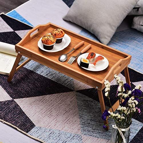 Tienda Eurasia - Vassoio per letto in bambù, tavolino colazione con gambe pieghevoli, naturale, 50 x 30 x 24 cm