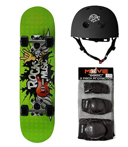 Skate-Max set Skateboard +Protezioni + Casco per Bambini dai 6 agli 8 anni (Rock Music Media)