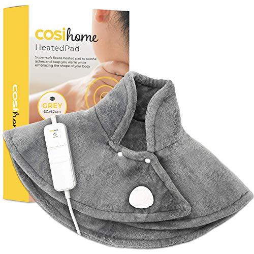 Cosi Home Termoforo per Cervicale e Spalle – Cuscino termico riscaldato di lusso- Con Flanella super confortevole, telecomando e 3 impostazioni di calore