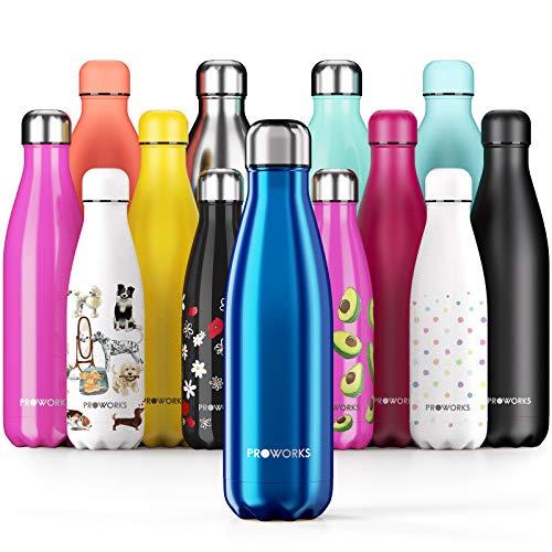 PROWORKS Bottiglia Acqua in Acciaio Inox, Senza BPA Vuoto Isolato Borraccia Termica in Metallo per Bevande Calde per 12 Ore & Fredde 24 Ore, Borraccia per Sport, Lavoro e Palestra - 1 Litre - Blu