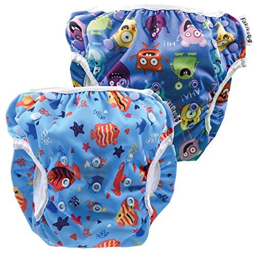 Fakiku Pannolino Costumino Contenitivo Neonato Bimbi 0-36 Costume Piscina Regolabile Riutilizzabile Costumi Per Bambini Set Mare Lavabili Pannolino Nuoto Bambina Bambino