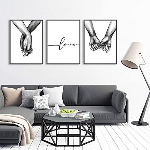 Set di Stampe da Parete, Tenersi per Mano in Bianco e Nero, 3 Pezzi Premium Poster Quadri Moderni Soggiorno Poster Abbinati per Camera da Letto Soggiorno Decorazioni (S)