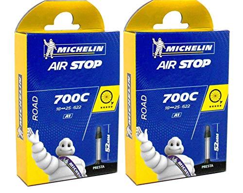 2 x michelin Bici da Strada Airstop Camera D'Aria 52mm Valvola Presta 700 x 18/25 Tubo
