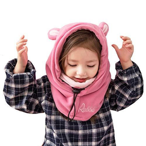 Azarxis Passamontagna Neve Bambini, Invernale Cappello Bambino, Passamontagna da Sci per Bambino Bambina Ragazzo Ragazza (Rosa - Coniglio)