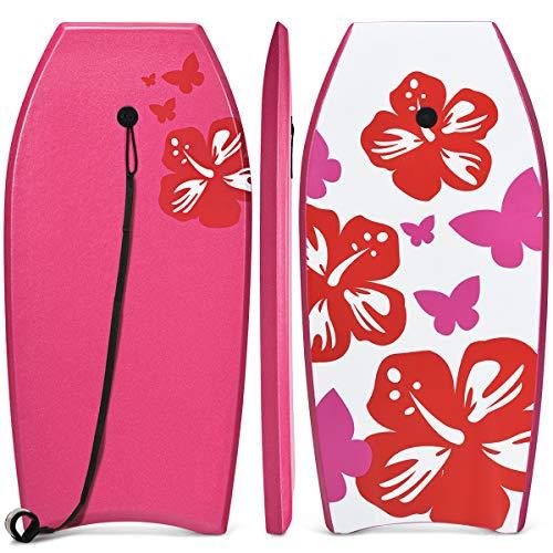 COSTWAY Mini Tavola Bodyboard Body Surf Board 105cm, con Guinzaglio, per Surf e Sport Acquatici, per Adulti e Ragazzi (Rosa)