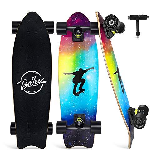 BELEEV Cruiser Skateboard 27x8 inch Completo Skateboard per Bambini, Giovani e Adulti, 7 Strati di Acero Canadese Double Kick Deck Concavo con all-in-One Skate T-Tool (Nebulae)
