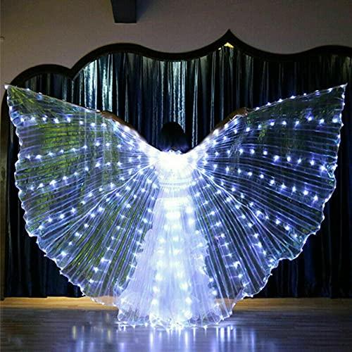Luci a LED per danza del ventre, ala illuminante con bastone telescopico, ali colorate a forma di farfalla per carnevale, palcoscenico, Halloween, Natale (bianco)