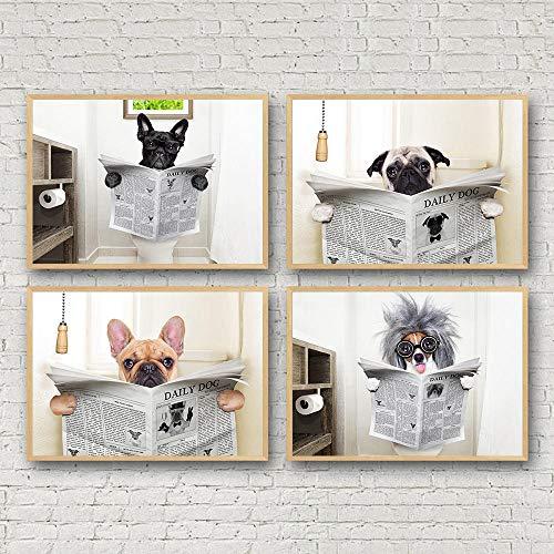 nobrand Nordic Poster Cane Lettura Giornale Tela Pittura Muro Arte Divertente Cane Toilette Art Poster Decorazione Immagini da Parete per Bagno-30X40cm X4P Senza Cornice