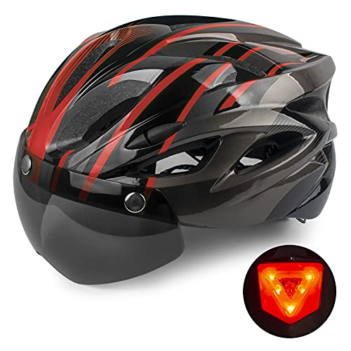 Shinmax Casco Bici con Luce di LED,Certificato CE, Casco con Visiera Magnetica Staccabile Shield Casco da Bici Leggero Regolabile Casco da Bicicletta Unisex Adulto Skateboarding Sci Snowboard 56-62cm