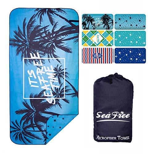 Sea Free Asciugamano in Microfibra da Spiaggia, Doppia Faccia Stampato Teli Viaggio, Uomo Donna Asciugatura Rapida Telo da Palestra Asciugamani Sportivi per Nuoto, Picnic e Bagno (Albero| 180x90cm)