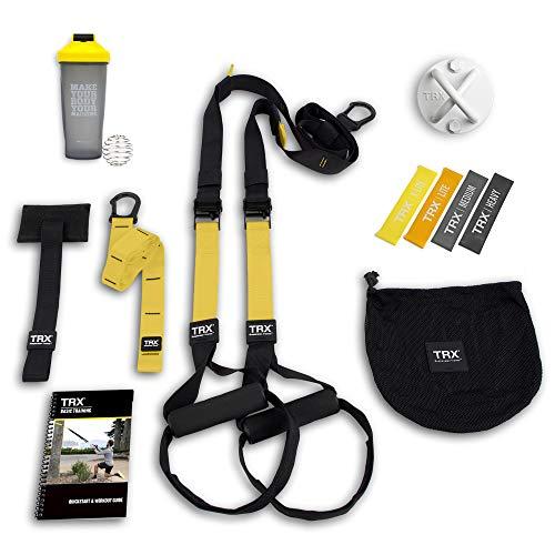 Pacchetto TRX All In One Home Gym: Include All-In-One Suspension Trainer, ancore per interni ed esterni, ancoraggio a parete TRX XMount, 4 fasce per esercizi e bottiglia shaker