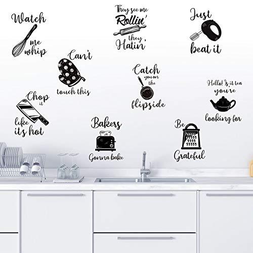 Adesivi Murali Citazioni Cucina Lettera Cucina Decalcomanie da Muro Utensili da Cucina con Detti Decorazione Murale per Cucina Sala da Pranzo Sala da Forno Ristorante