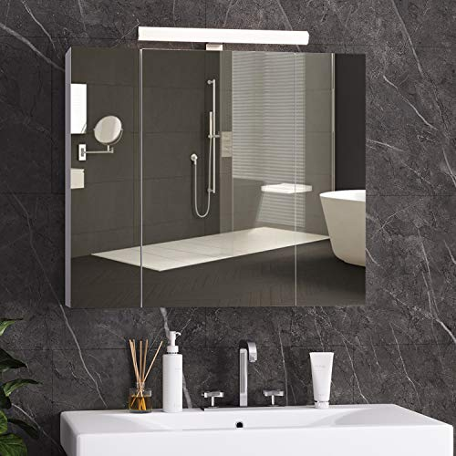 DICTAC specchio bagno contenitore con Illuminazione LED e Presa 70 x 60 x 15 cm armadietto bagno con specchio,mobile bagno con specchio,specchiera bagno con luce e 3 Ante e conservazione,Bianco