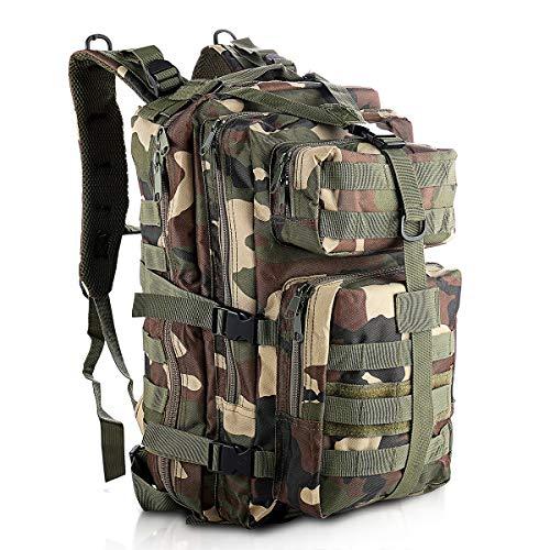 SHANNA Zaino Militare, Zaino tattico Zaino Militare 35L Molle Pack d'assalto Zaino tattico da Combattimento per Escursioni all'aperto Campeggio Trekking Pesca Caccia (Jungle Camouflage)