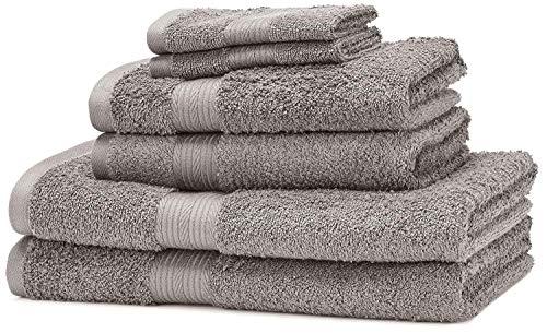 Amazon Basics - Set di 2 asciugamani da bagno,2 asciugamani per le mani e 2 asciguamani da bidet che non sbiadiscono, colore Grigio