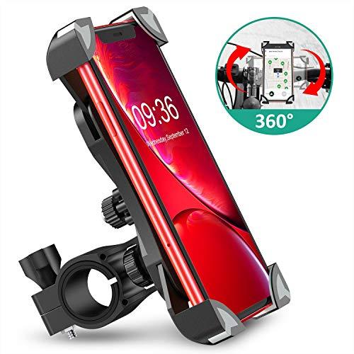 Cocoda Anti Vibrazione Porta Cellulare Bici, Supporto Bici Smartphone Rotazione a 360° Manubrio Universale Porta Cellulare Moto Compatibile con iPhone 13 Pro Max/12 Pro/11, Samsung Galaxy S20