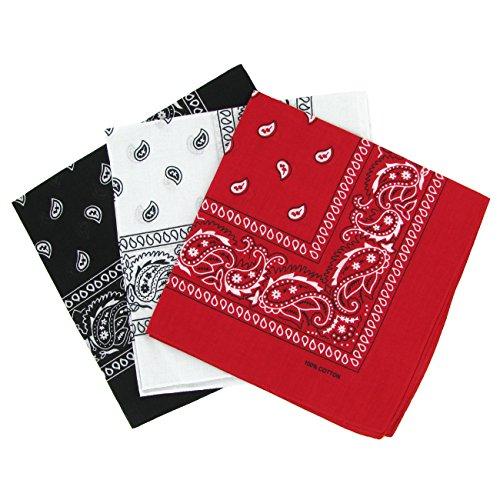 Set di 3 bandanas paisley in cotone, modello cachemire, bianco, nero e rosso