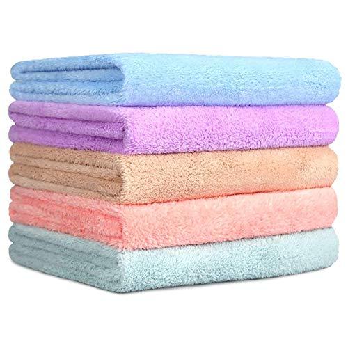 Yoofoss Set di 5 Asciugamani Viso-Mani in Microfibra in Pile di Corallo 35 * 75 cm Asciugamani ad Asciugatura Rapida Leggeri e Altamente Assorbenti