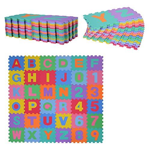 homcom Tappeto Puzzle per Bambini 36 Pezzi, Numeri da 0 a 9 e 26 Lettere, Morbido e Antiscivolo