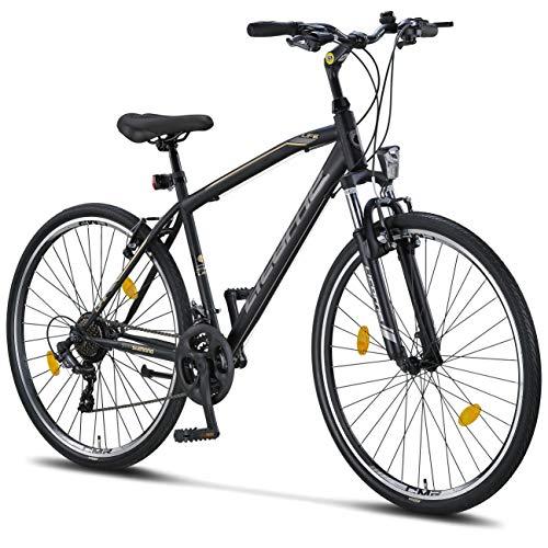 Licorne Bike - Bici da trekking, 28 pollici, per ragazzi, ragazze, donne e uomini, cambio a 21 marce – Life M-V, Bambina, nero/grigio, 28 inches
