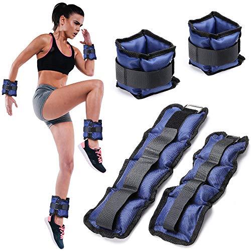 BAKAJI Set 4 Pesi per Polsi e Caviglie da 2 kg + 1 kg Allenamento Palestra Aerobica Fitness Potenziamento Muscolare in Neoprene con Chiusura Strappo e Fibbia Regolabile (Blu)