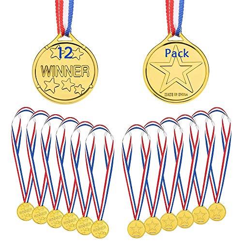 KANOSON Medaglie Premiazioni 12 Pezzi, Medaglie per Bambini Oro Plastica Vincitore Medaglie con Nastro, Medaglia Olimpiadi per Giorno dello Sport Festa Gioco Giocattoli Concorrenza Premi Ricompensa